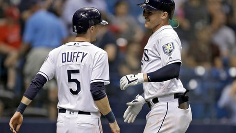 Tampa Bay Rays' Jake Bauers, right, celebrates with Matt Duffy after Bauers hit a two-run home run off Los Angeles Angels relief pitcher Hansel Robles during the eighth inning of a baseball game Wednesday, Aug. 1, 2018, in St. Petersburg, Fla. The Rays won 7-2. (AP Photo/Chris O'Meara)