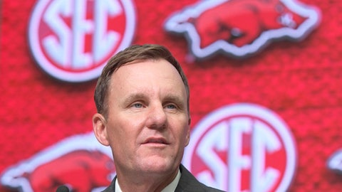 FILE - In this July 17, 2018, file photo, Arkansas head coach Chad Morris speaks during the Southeastern Conference NCAA college football media days at the College Football Hall of Fame in Atlanta. Arkansas opens its first preseason camp with new coach Chad Morris at the helm on Friday, Aug. 3, 2018. (AP Photo/John Amis, File)
