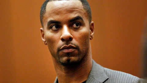 FILE - In this Feb. 20, 2014, file photo, former NFL football player Darren Sharper appears in Los Angeles Superior Court in Los Angeles. The disgraced former NFL star has renewed efforts to get a reduction in his 18-year federal sentence for drugging and raping women. Lawyers for Sharper, who lost a federal appeal more than a year ago, went back to U.S. District Court in New Orleans this week, filing a memorandum arguing that he was not adequately advised by his trial lawyers on the consequences of his 2016 guilty plea. (Bob Chamberlin/Los Angeles Times via AP, Pool, File)