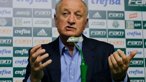 The former Brazil national soccer team coach Luiz Felipe Scolari speaks during a press conference at the Palmeiras training center in Sao Paulo, Brazil, Friday, Aug. 3, 2018. Scolari signed a contract with Palmeiras last week, returning home for the first time since his lost to Germany by 7-1 in the 2014 World Cup semifinal. (AP Photo/Nelson Antoine)