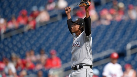 <p>               Miami Marlins starting pitcher Jose Urena begins to celebrate as he threw a complete baseball game against the Washington Nationals, Sunday, Aug. 19, 2018, in Washington. (AP Photo/Nick Wass)             </p>