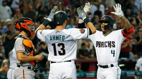 <p>               Arizona Diamondbacks Ketel Marte (4) celebrates with Nick Ahmed after hitting a two-run home run against the San Francisco Giants in the first inning during a baseball game, Saturday, Aug. 4, 2018, in Phoenix. (AP Photo/Rick Scuteri)             </p>