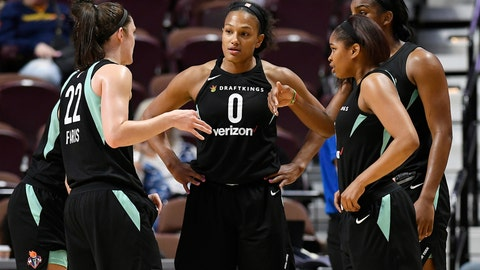 <p>               FILE - In this May 8, 2018, file photo, New York Liberty's Marissa Coleman, center huddles with teammates during a preseason WNBA basketball game against the Connecticut Sun in Uncasville, Conn. While most of the WNBA is vying for playoff positioning in one of the most competitive finishes to a WNBA regular season, New York, Indiana, Chicago and Las Vegas are jockeying for the draft lottery.  (AP Photo/Jessica Hill, File)             </p>