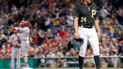 <p>               Pittsburgh Pirates starting pitcher Chris Archer heads to the dugout after having given up a run-scoring single to St. Louis Cardinals' Dexter Fowler, standing on first, during the fifth inning of a baseball game Friday, Aug. 3, 2018, in Pittsburgh. (AP Photo/Keith Srakocic)             </p>