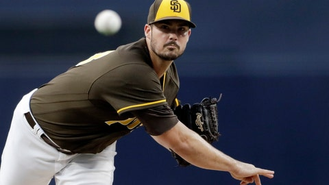 <p>               San Diego Padres starting pitcher Jacob Nix works against a Philadelphia Phillies batter during the first inning of a baseball game Friday, Aug. 10, 2018, in San Diego. (AP Photo/Gregory Bull)             </p>