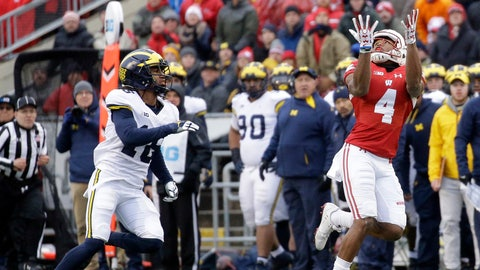 <p>               FILE - In this Nov. 18, 2017, file photo, Wisconsin's A.J. Taylor (4) makes a catch against Michigan's Jaylen Kelly-Powell during an NCAA college football game, in Madison, Wis. Wisconsin's Big Four of experienced receivers is down to the duo of A.J. Taylor and Kendric Pryor following the suspensions of Quintez Cephus and Danny Davis. (AP Photo/Aaron Gash, File)             </p>