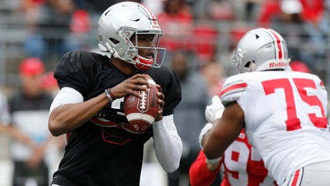 <p>               FILE - In this April 14, 2018, file photo, Ohio State quarterback Dwayne Haskins drops back to pass during a spring NCAA college football game in Columbus, Ohio. The Buckeyes will be without coach Urban Meyer, who is serving a three-game suspension for his handling of domestic-abuse allegations against a now-fired assistant coach, when they host Oregon State on Saturday. Ryan Day, who is quarterbacks coach and offensive coordinator, is running the show for the Buckeyes from the sideline. (AP Photo/Jay LaPrete, File)             </p>