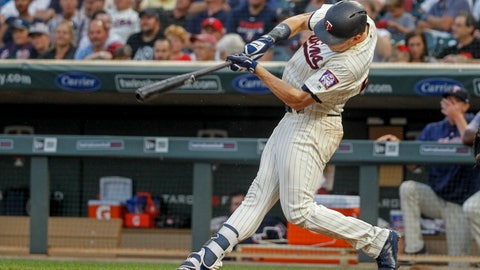 <p>               Minnesota Twins Max Kepler hits a two-run homer against the Kansas City Royals in the fourth inning of a baseball game Saturday, Aug. 4, 2018, in Minneapolis. (AP Photo/Bruce Kluckhohn)             </p>