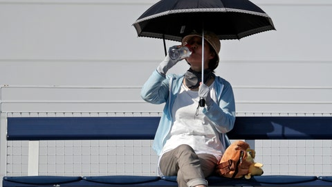 <p>               A fan shelters under an umbrella and sips a drink as she watches the match between Fabio Fognini, of Italy, and Michael Mmoh during the first round of the U.S. Open tennis tournament, Tuesday, Aug. 28, 2018, in New York. (AP Photo/Julio Cortez)             </p>