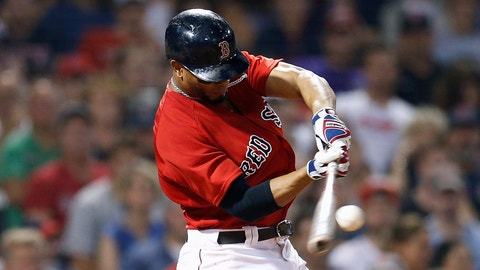 <p>               Boston Red Sox's Xander Bogaerts hits a double during the seventh inning of a baseball game against the Tampa Bay Rays in Boston, Friday, Aug. 17, 2018. (AP Photo/Michael Dwyer)             </p>
