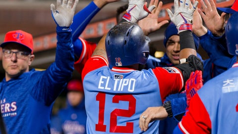 <p>               Texas Rangers' Rougned Odor celebrates in the dugout after hitting a two-run home run against the San Francisco Giants in the ninth inning of a baseball game in San Francisco, Friday, Aug 24, 2018. (AP Photo/John Hefti)             </p>