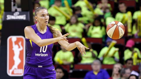 <p>               FILE - In this July 10, 2018, file photo, Los Angeles Sparks' Maria Vadeeva passes the ball during the team's WNBA basketball game against the Seattle Storm in Seattle. While she's a rookie to the WNBA, Vadeeva has been playing professionally in Russia since she was 16. The 6-foot-4 center is on the Russian league powerhouse Dynamo Kursk that features her Sparks teammate Nneka Ogwumike and won the EuroLeague title in 2017. (AP Photo/Elaine Thompson, File)             </p>