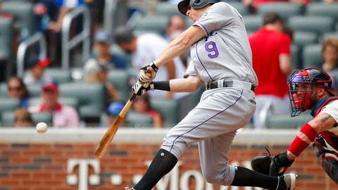 <p>               Colorado Rockies' DJ LeMahieu (9) hits a solo home run in the third inning of a baseball game against the Atlanta Braves, Sunday, Aug. 19, 2018, in Atlanta. (AP Photo/Todd Kirkland)             </p>