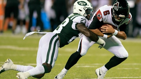 <p>               New York Jets' Terrence Brooks (23) tackles Atlanta Falcons' Kurt Benkert (6) during the second half of a preseason NFL football game Friday, Aug. 10, 2018, in East Rutherford, N.J. (AP Photo/Bill Kostroun)             </p>
