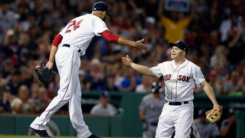 <p>               Boston Red Sox's David Price (24) celebrates the out made by Brock Holt, right, on a bunt attempt by Tampa Bay Rays' Carlos Gomez during the third inning of a baseball game in Boston, Saturday, Aug. 18, 2018. (AP Photo/Michael Dwyer)             </p>
