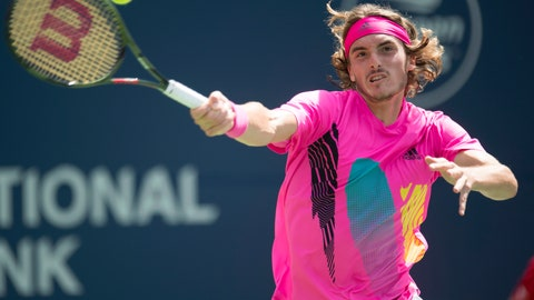 <p>               Stefanos Tsitsipas of Greece hits a forehand to Alexander Zverev of Germany during Rogers Cup quarterfinal tennis tournament action in Toronto on Friday, Aug. 10, 2018. (Frank Gunn/The Canadian Press via AP)             </p>