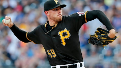 <p>               Pittsburgh Pirates starter Joe Musgrove pitches to a Chicago Cubs batter during the first inning of a baseball game, Saturday, Aug. 18, 2018, in Pittsburgh. (AP Photo/Keith Srakocic)             </p>