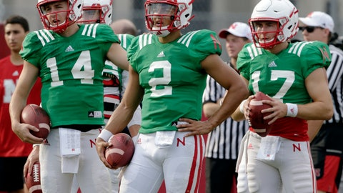 <p>               Nebraska quarterbacks Adrian Martinez (2), Tristan Gebbia (14) and Andrew Bunch (17) stand together during NCAA college football fall practice in Lincoln, Neb., Wednesday, Aug. 8, 2018. Nebraska's three-man quarterback race remains too close to call. Quarterbacks coach Mario Verduzco says Martinez, Gebbia and Bunch continue to get an equal number of snaps with the first-string offense. (AP Photo/Nati Harnik)             </p>