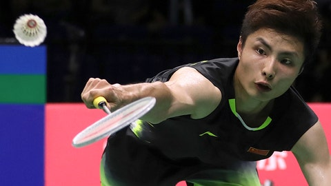 <p>               Shi Yuqi of China plays a shot as he competes against Chen Long of China in their men's badminton semifinal match at the BWF World Championships in Nanjing, China, Saturday, Aug. 4, 2018. (AP Photo/Mark Schiefelbein)             </p>