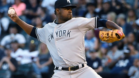 <p>               New York Yankees starting pitcher Luis Severino throws to a Chicago White Sox batter during the first inning of a baseball game Wednesday, Aug. 8, 2018, in Chicago. (AP Photo/David Banks)             </p>