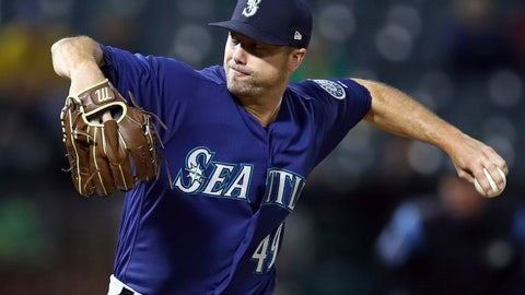 <p>               Seattle Mariners pitcher Wade LeBlanc works against the Oakland Athletics during the second inning of a baseball game Thursday, Aug. 30, 2018, in Oakland, Calif. (AP Photo/Ben Margot)             </p>