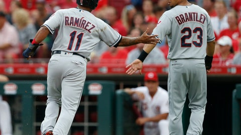<p>               Cleveland Indians' Jose Ramirez (11) and Michael Brantley (23) celebrate after scoring on Yonder Alonso single off Cincinnati Reds starting pitcher Sal Romano during the first inning of a baseball game, Tuesday, Aug. 14, 2018, in Cincinnati. (AP Photo/Gary Landers)             </p>