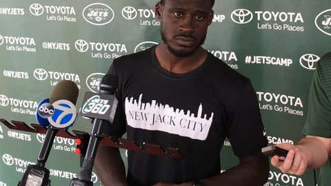 """<p>               New York Jets cornerback Morris Claiborne speaks to the media while wearing a """"New Jack City"""" T-shirt during NFL football training camp, Tuesday, Aug. 21, 2018, in Florham Park, N.J. """"New Jack City"""" is the nickname defensive backs coach Dennard Wilson gave his group before last season, and it's the identity by which the likes of Claiborne, Trumaine Johnson, Buster Skrine, Jamal Adams and Marcus Maye want to be known. (AP Photo/Dennis Waszak Jr.)             </p>"""