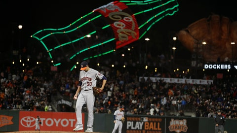 <p>               Houston Astros starting pitcher Charlie Morton stands on the mound after giving up a home run to the San Francisco Giants' Brandon Crawford in the sixth inning of a baseball game Monday, Aug. 6, 2018, in San Francisco. (AP Photo/Eric Risberg)             </p>