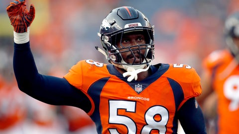 <p>               File-This Aug. 18, 2018, file photo shows Denver Broncos linebacker Von Miller (58) taking the field prior to a preseason NFL football game against the Chicago Bears in Denver. Miller went bonkers when Bradley Chubb fell to the Denver Broncos with the fifth pick in the NFL draft. Chubb not only takes pressure off Miller, who hasn't been back to the playoffs since winning Super Bowl 50 MVP honors, but he bolsters what was already a dynamic Denver pass rush that gives opponents fits and covers a whole lot of warts in the Broncos' beleaguered secondary.  (AP Photo/David Zalubowski, File)             </p>