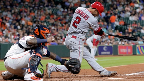 <p>               Los Angeles Angels' Andrelton Simmons (2) connects for a double, scoring three runs, in front of Houston Astros catcher Martin Maldonado (15) during the sixth inning of a baseball game Thursday, Aug. 30, 2018, in Houston. (AP Photo/Michael Wyke)             </p>