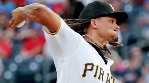 <p>               Pittsburgh Pirates starter Chris Archer pitches against the Atlanta Braves in the first inning of a baseball game, Monday, Aug. 20, 2018, in Pittsburgh. (AP Photo/Keith Srakocic)             </p>