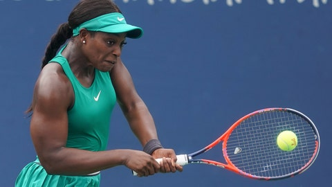 <p>               Sloane Stephens returns to Tatjana Maria, of Germany, in the second round at the Western & Southern Open tennis tournament, Wednesday, Aug. 15, 2018, in Mason, Ohio. (AP Photo/John Minchillo)             </p>