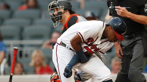 <p>               Atlanta Braves' Ronald Acuna Jr. (13) reacts after being hit by a pitch from Miami Marlins' Jose Urena during the first inning of a baseball game Wednesday, Aug. 15, 2018, in Atlanta. Both dugouts emptied and Urena was ejected. (AP Photo/John Bazemore)             </p>