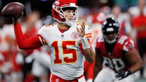 <p>               Kansas City Chiefs quarterback Patrick Mahomes (15) passes against the Atlanta Falcons during the first half of an NFL preseason football game, Friday, Aug. 17, 2018, in Atlanta. (AP Photo/John Bazemore)             </p>