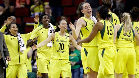 <p>               File-This June 15, 2018, file photo shows Seattle Storm's Alysha Clark, left, Natasha Howard, Sue Bird (10) and Breanna Stewart coming off the bench to greet teammates during a timeout in the first half of a WNBA basketball game against the Connecticut Sun in Seattle. About the only thing that has been decided when it comes to the postseason is Seattle will have a bye to the semifinals. Atlanta is close to wrapping up a top two seed, but finishes the season with two more games on the road. Washington, Connecticut, Los Angeles, Phoenix and Minnesota are all jockeying for a first-round bye. (AP Photo/Elaine Thompson, File)             </p>