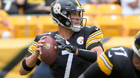 <p>               Pittsburgh Steelers quarterback Ben Roethlisberger (7) passes in the first quarter of an NFL preseason football game against the Tennessee Titans, Saturday, Aug. 25, 2018, in Pittsburgh. (AP Photo/Fred Vuich)             </p>
