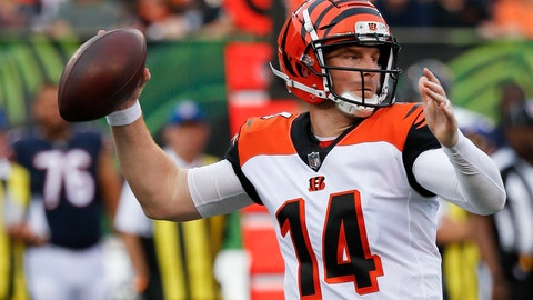 <p>               Cincinnati Bengals quarterback Andy Dalton throws during the first half of the team's NFL preseason football game against the Chicago Bears, Thursday, Aug. 9, 2018, in Cincinnati. (AP Photo/Frank Victores)             </p>