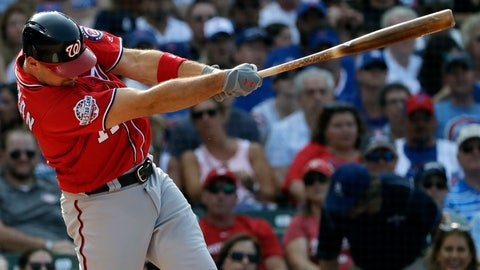 <p>               Washington Nationals' Ryan Zimmerman hits a three-run home run against the Chicago Cubs during the fourth inning of a baseball game Saturday, Aug. 11, 2018, in Chicago. (AP Photo/Nam Y. Huh)             </p>