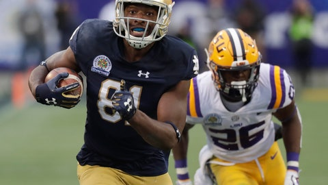 <p>               FILE - In this Jan. 1, 2018, file photo, Notre Dame wide receiver Miles Boykin, left, runs to the end zone past LSU safety John Battle (26) on his way to the score the game-winning touchdown during the second half of the Citrus Bowl NCAA college football game, in Orlando, Fla. With only 15 career catches, one start and 232 receiving yards, Notre Dame wide receiver Miles Boykin was a relatively untapped commodity heading into the final game of his junior season last Jan. 1 against LSU in the CItrus Bowl. Any anonymity was lifted that New Years Day when Boykin enjoyed his coming-out party with three catches and 103 yards, including a one-handed, 55-yard circus catch for a game-winning touchdown that secured him bowl MVP honors and a place in Notre Dame lore. (AP Photo/John Raoux, File)             </p>