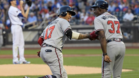 <p>               Atlanta Braves' Johan Camargo (17) celebrates with third base coach Ron Washington (37) after hitting a home run as New York Mets pitcher Jacob deGrom, left, stands on the mound during the second inning of a baseball game Friday, Aug. 3, 2018 in New York. (AP Photo/Bill Kostroun)             </p>