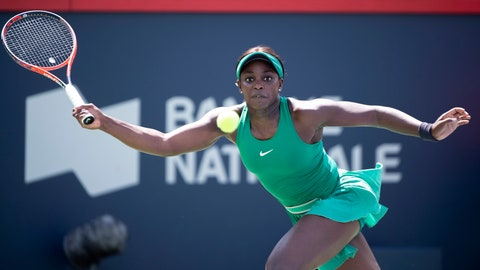 <p>               Sloane Stephens, of the Unites States, returns to Carla Suarez Navarro, of Spain, during the Rogers Cup women's tennis tournament, Thursday Aug, 9, 2018 in Montreal. (Paul Chiasson/The Canadian Press via AP)             </p>