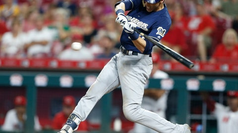 <p>               Milwaukee Brewers' Christian Yelich hits a double off Cincinnati Reds relief pitcher Michael Lorenzen during the sixth inning of a baseball game Wednesday, Aug. 29, 2018, in Cincinnati. (AP Photo/Gary Landers)             </p>