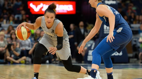 <p>               FILE - In this July 13, 2018, file photo, Las Vegas Aces guard Kayla McBride drives against Minnesota Lynx forward Cecilia Zandalasini (9) during the second half of a WNBA basketball game in Minneapolis. The Aces had an adventure getting to Washington for their game against the Mystics on Friday night. (Aaron Lavinsky/Star Tribune via AP, File)             </p>