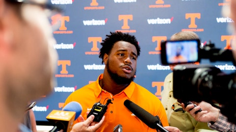 <p>               FILE - In this Aug. 9, 2018, file, photo, Tennessee offensive lineman Brandon Kennedy answers questions during a news conference in Knoxville, Tennessee. Tennessee has added players from some of the nation's most successful programs in an attempt to jump-start the Volunteers' return to Southeastern Conference contention. Tennessee's graduate transfers include former Alabama offensive lineman Kennedy, former Michigan State running back Madre London and former Stanford quarterback Keller Chryst. (Calvin Mattheis, The News Sentinel via AP, File)             </p>