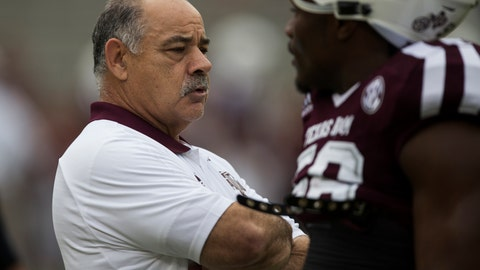 <p>               File-This Nov. 4, 2017, file photo shows Texas A&M defensive coordinator John Chavis talking with Texas A&M linebacker Keeath Magee II (56) before the start of an NCAA college football game against Auburn in College Station, Texas. For all the talk about the offensive change under new Arkansas coach Chad Morris, it's the defensive overhaul under former Texas A&M defensive coordinator Chavis that could determine whether the Razorbacks reach a bowl game this season. Arkansas allowed 36.2 points per game last season, 114th in the country, but the Razorbacks are confident experience and Chavis' influence in his first year will help them improve this season.(AP Photo/Sam Craft, File)             </p>