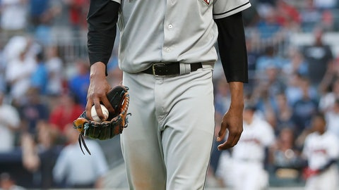 <p>               Miami Marlins starting pitcher Jose Urena leaves the field after being ejected for hitting Atlanta Braves' Ronald Acuna Jr. with a pitch during the first inning of a baseball game Wednesday, Aug. 15, 2018, in Atlanta. (AP Photo/John Bazemore)             </p>