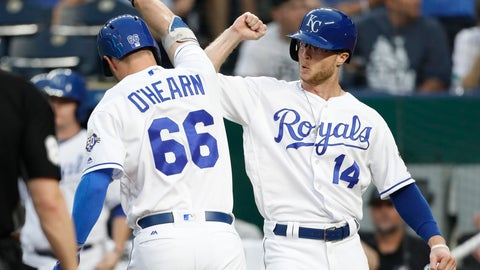 <p>               Kansas City Royals' Ryan O'Hearn (66) is congratulated by Brett Phillips (14) after hitting a two-run home run in the second inning of a baseball game against the Toronto Blue Jays at Kauffman Stadium in Kansas City, Mo., Monday, Aug. 13, 2018. (AP Photo/Colin E. Braley)             </p>