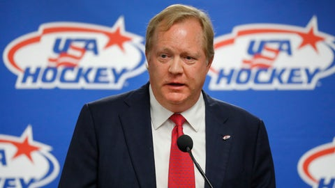<p>               FILE - This Aug. 4, 2017 file photo shows Jim Johannson speaking during a news conference in Plymouth, Mich. Auston Matthews and Patrick Kane were among dozens of U.S.-born NHL hockey players who gathered for a charity game won by the Blue over the White 14-9. The event honored longtime USA Hockey executive Jim Johannson, who died at age 53 in January. (AP Photo/Paul Sancya, File)             </p>