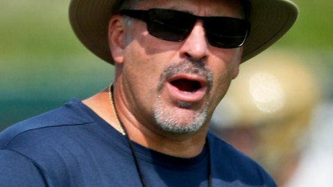 <p>               In this photo from Aug. 10, 2018, Pittsburgh head coach Pat Narduzzi watches drills during an NCAA college football practice, in Pittsburgh. Sophomore quarterback Kenny Pickett carries the hype, but Pittsburgh's progress in head coach Pat Narduzzi's fourth season will rely heavily on the defense. (AP Photo/Keith Srakocic)             </p>