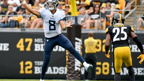 <p>               File-This Aug. 25, 2018, file photo shows Tennessee Titans quarterback Marcus Mariota (8) getting a pass away as Pittsburgh Steelers cornerback Artie Burns (25) rushes him in the first half of an NFL preseason football game, in Pittsburgh.  Mariota's emergence as one of the NFL's top young stars helped provide proof that a good quarterback can be found in the state of Hawaii. (AP Photo/Don Wright, File)             </p>